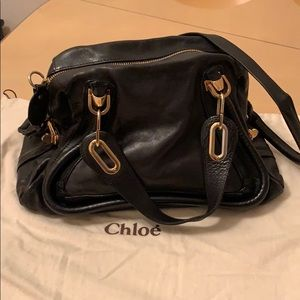 Chloe PARATY Medium Leather Satchel bag in black